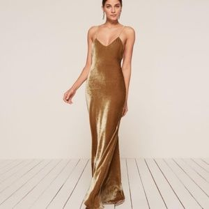 NWT Reformation Rimini Gown in Gold